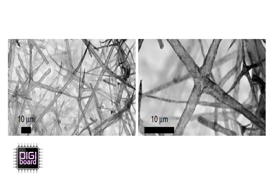 عکس های ریزنگاری شده از نانوساختار بورون-نیترید بعد از انباشت به روش تبخیر شیمیایی(CVD)